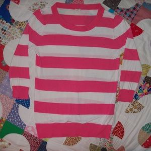 J. Crew Pink + White striped sweater XS